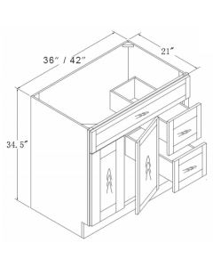 Vanities with Drawers-Shaker Espresso