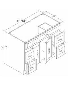 Vanities with Drawers 48 60-Shaker Grey